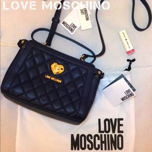 New Love Moschino Blue Crossbody Quilted Bag Purse